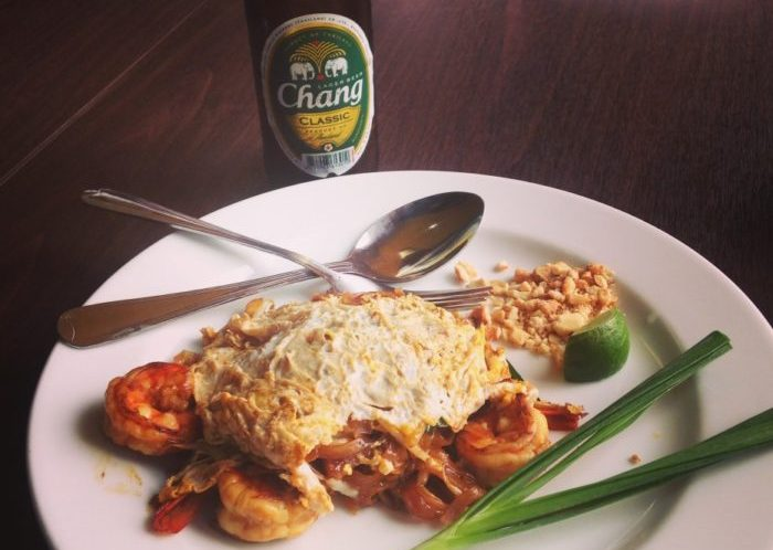 traditional foods from thailand: Pat Tai & Chang Beer