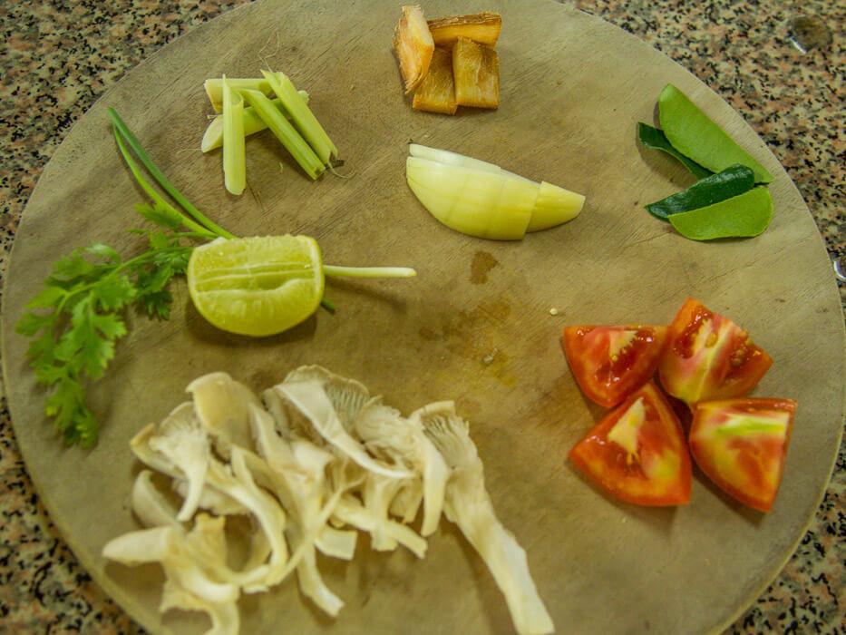 cooking organic thai food: ingredients for tom yum