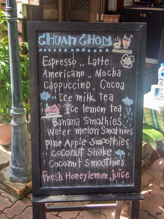 menu from cafe at womens prison chiang mai