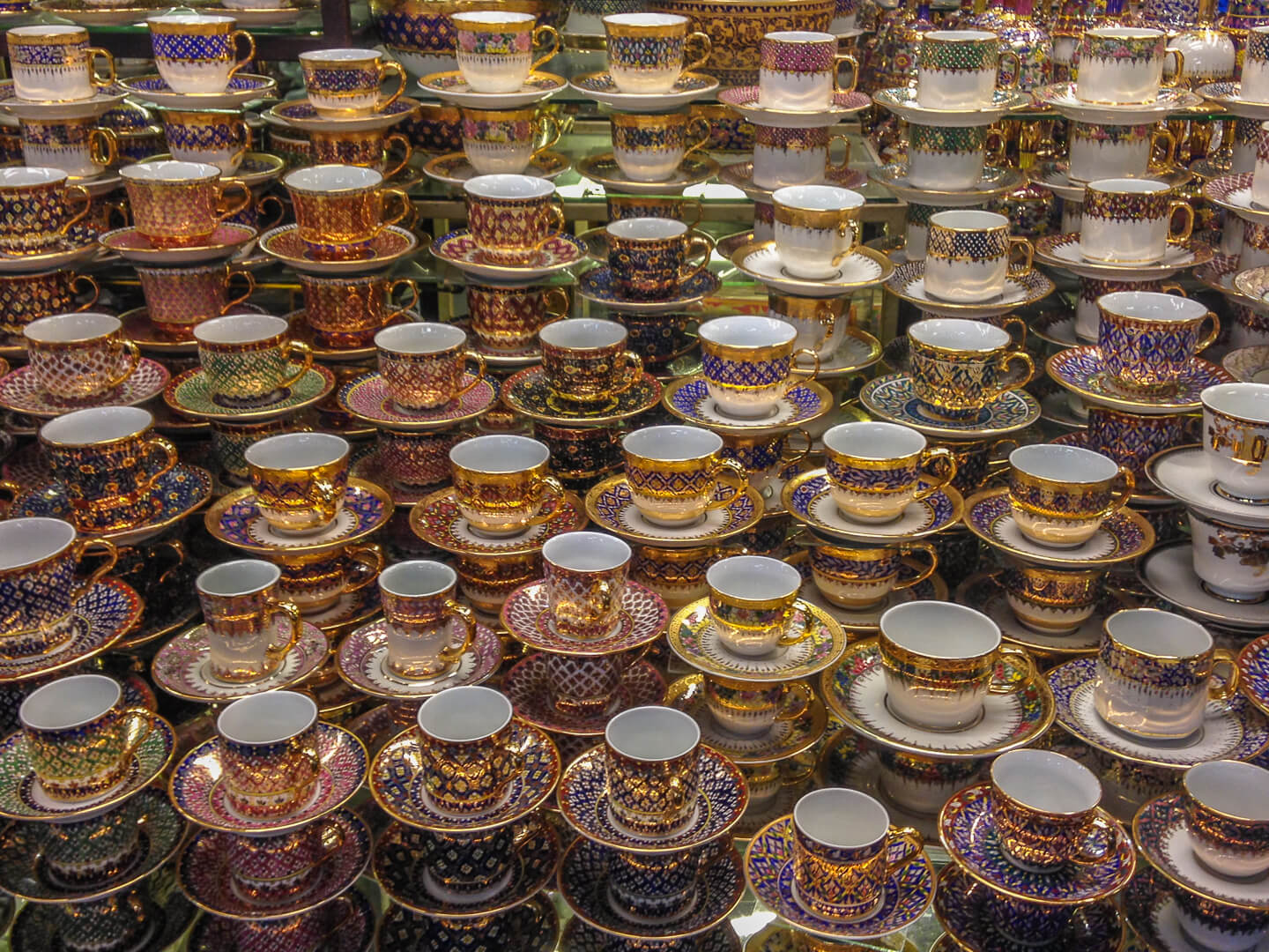 tea cups for sale at market in bangkok thailand