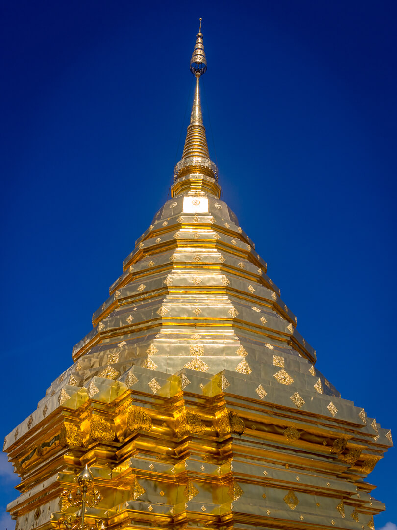 golden stupa at a temple in northern thailand