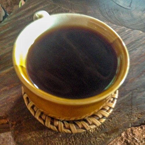 drinking roasting coffee in laos