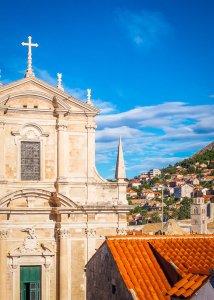 cityscape blue skies church dubrovnik croatia
