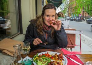 eating schnitzel in berlin
