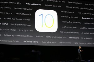 Craig Federighi, Apple senior vice president of software engineering, speaks about the new iOS at the Apple Worldwide Developers Conference in the Bill Graham Civic Auditorium in San Francisco, Monday, June 13, 2016. (AP Photo/Tony Avelar)