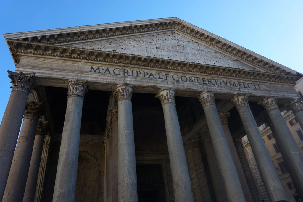 Side angle of the Roman Pantheon- amazing piece of architecture located in Rome Italy- Global Munchkins