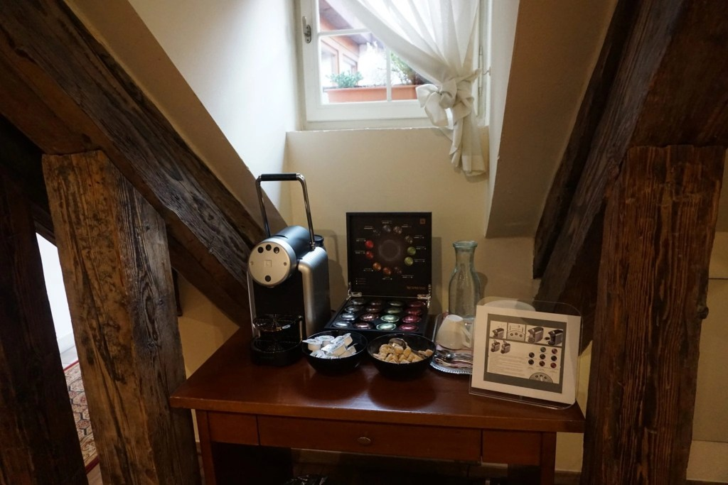 Complimentary espresso The Nicholas Hotel Residence in Prague. A review by Global Munchkins