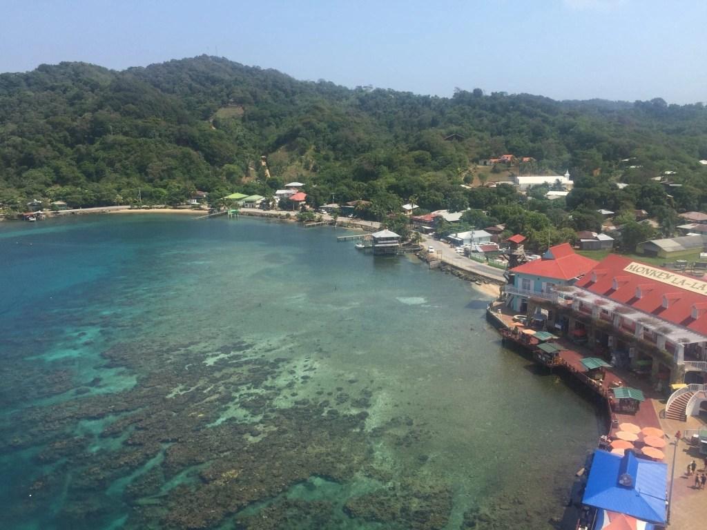 View of Roatan, Honduras from NCL Getaway Cruise Ship