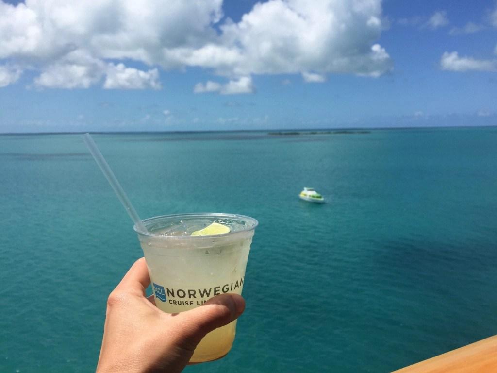 Cocktail off balcony in Belize taken on NCL Getaway