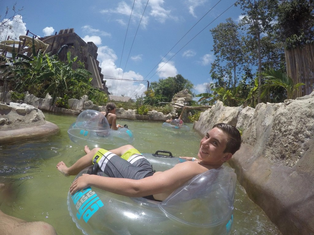 Floating in the river at Maya Park- lost Mayan Kingdom in Costa Maya Mexico.