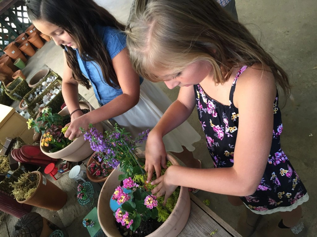 Making a Fairy Garden at the DIY Fairy Garden Workshop located at Myrtle Creek Botanical Gardens located near Temecula CA | Global Munchkins