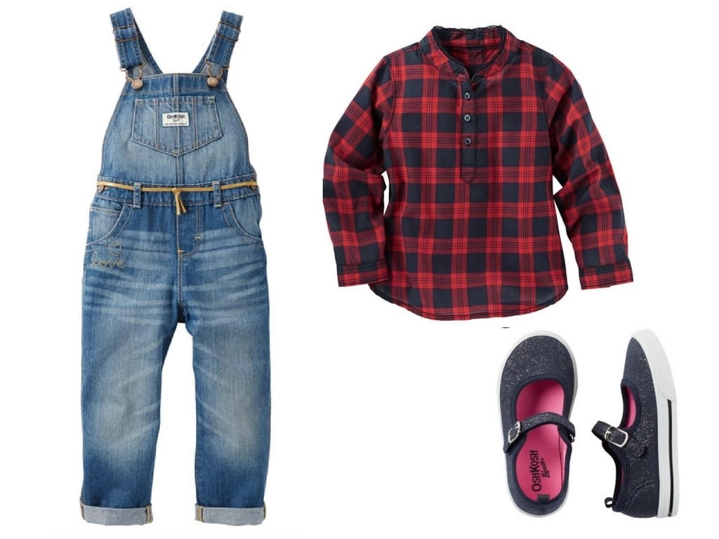 Adorable holiday outfit or holiday family photo shoot outfit for toddler girls