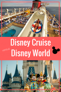 Trying to decide- Disney Cruise vs Disney World? Learn the pros and cons of both to help you make a well informed decision on which Disney Vacation is BEST for your family. Plus, learn how to save $$ on both.