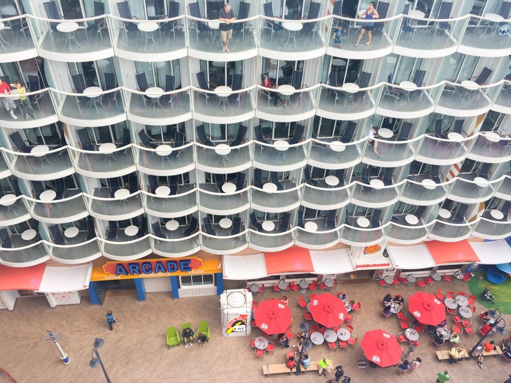 Check out the amazing view from our balcony on the Harmony of the Seas. We had a boardwalk view