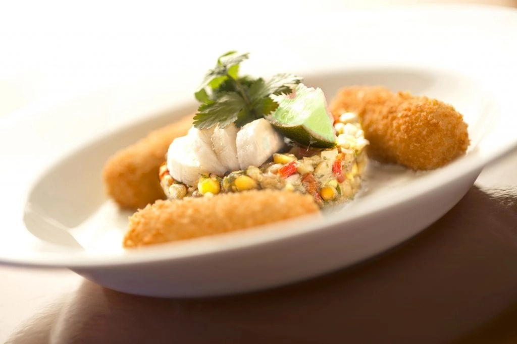 Lobster Croquetas with banana lentil salad and horseradish cream (Kent Phillips, photographer)