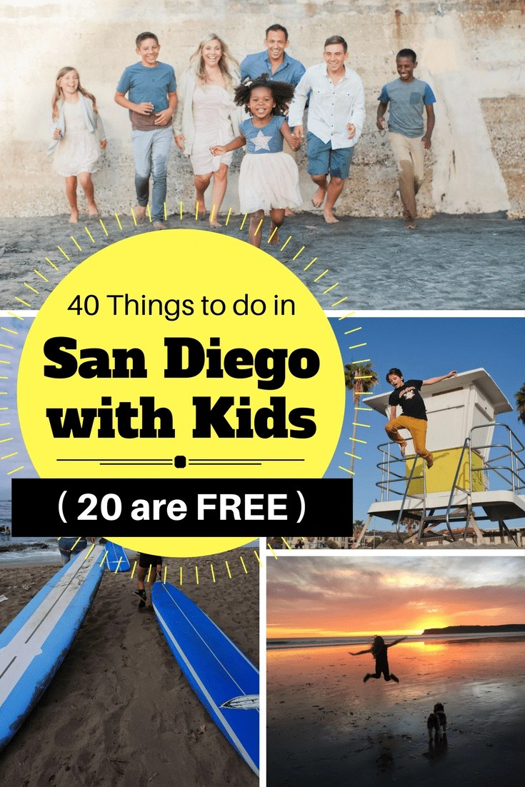 Check out the TOP 40 Things to do in San Diego with Kids and 20 of them are FREE! These are the best San Diego attractions for kids in San Diego. You will discover the off-the-beaten-path local favorites to help you plan your best San Diego vacation with kids. Click through to the post to see the list and get ALL the information you need to plan your San Diego vacation.  #sandiegowithkids #kidsfreesandiego #sandiego