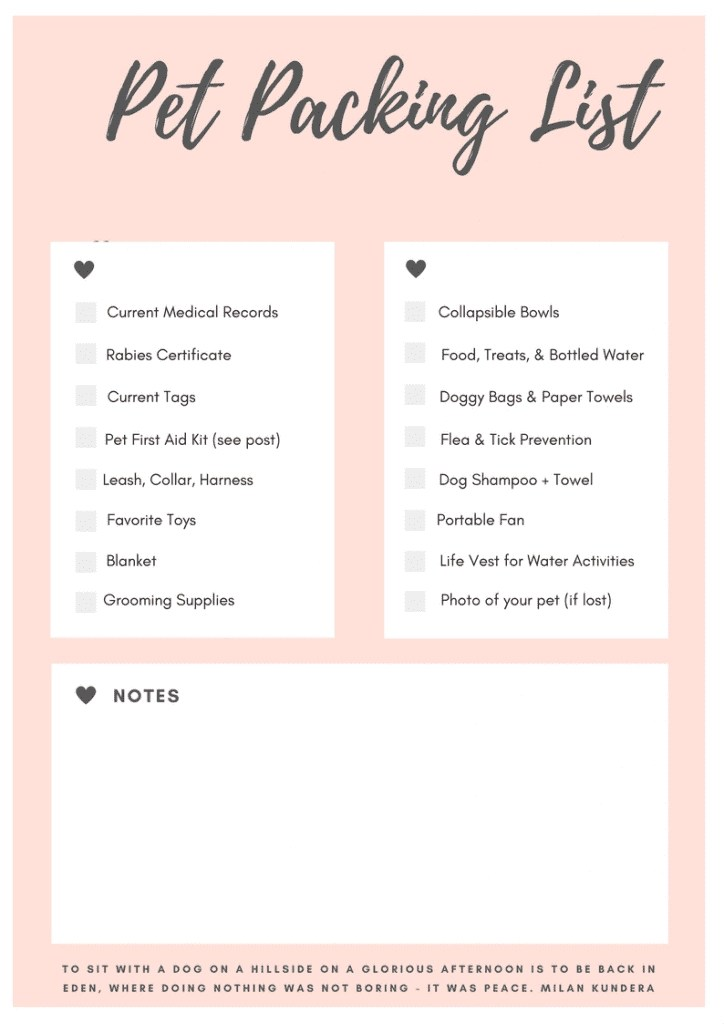 FREE Printable Pet Packing List for your next pet friendly vacation, road trip, or adventure. This is the ultimate packing list for pet travel.