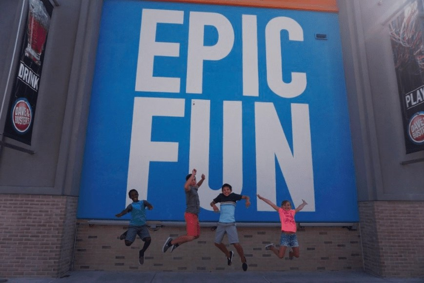 Things to do in Anaheim - Dave & Busters Mural at The Outlets at Orange | Global Munchkins