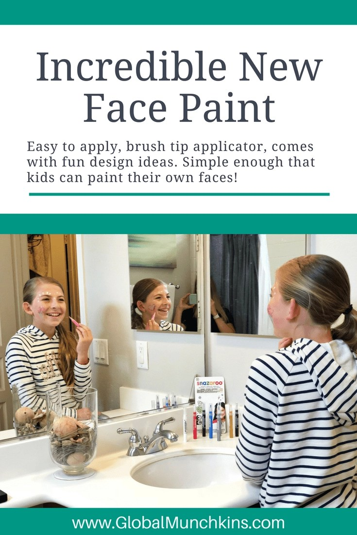 This cool face paint for kids is easy to apply, water-based and also easy to wash off. Perfect for parties, Halloween, and pretend play. #FacePaint #KidsBirthday #PartyIdeas #Halloween