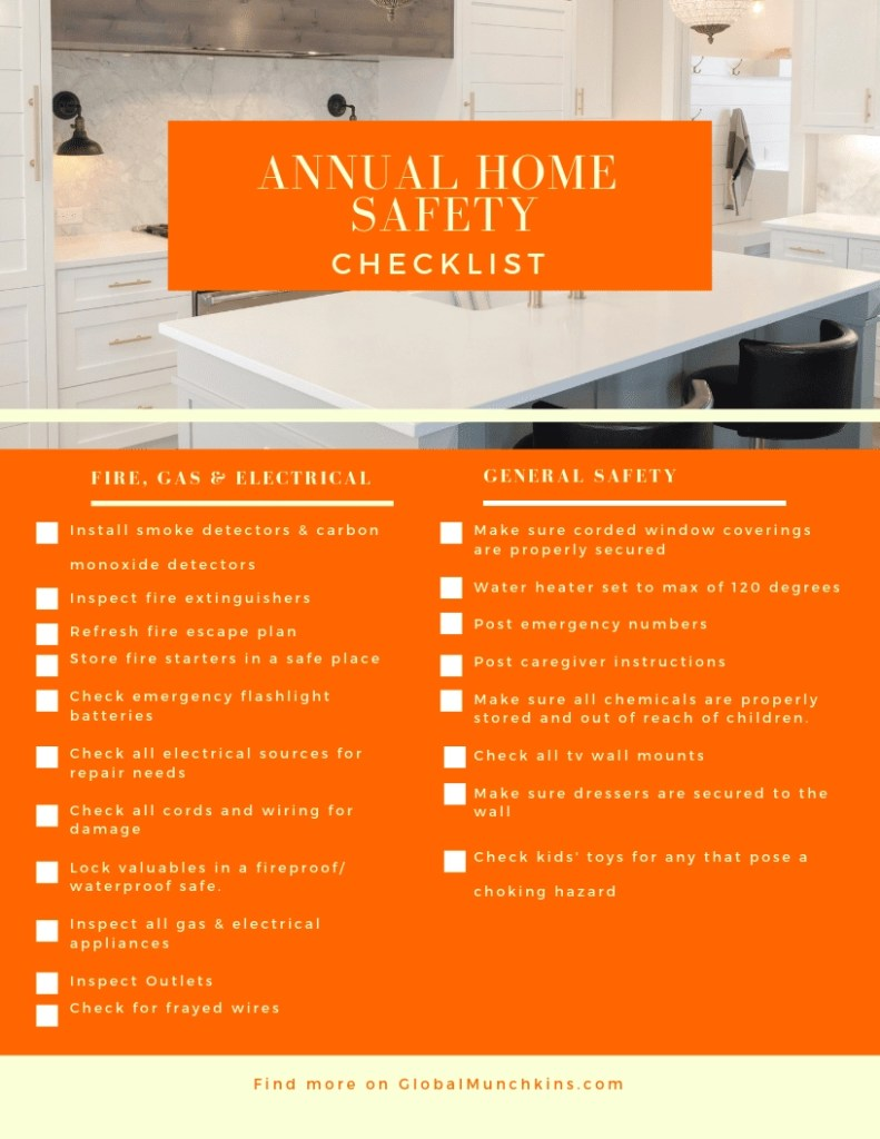 Free Printable annual home safety checklist