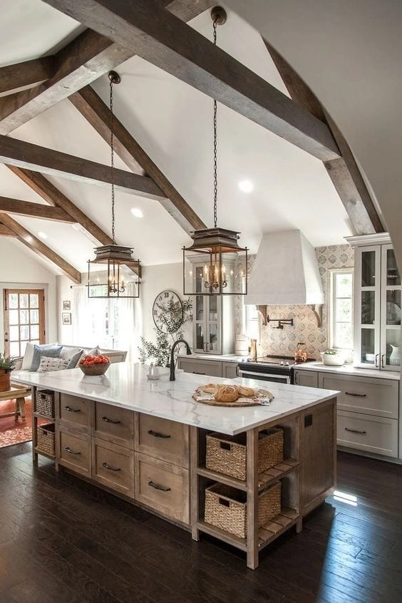 Gorgeous White Kitchens- I love the wood colored island in this one