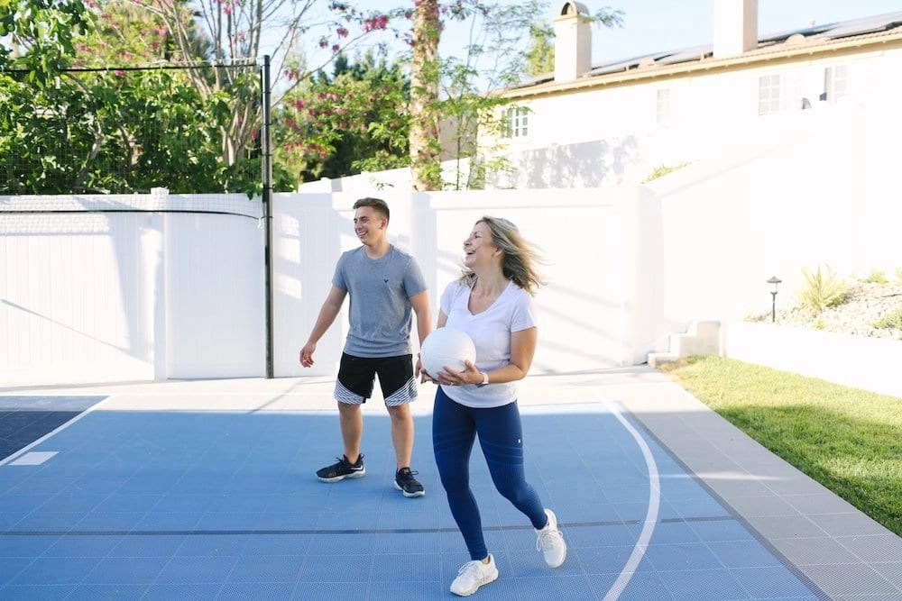 I love playing Volleyball with the kids on our new Sport Court Multi-Game Court