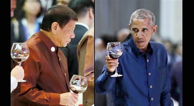 Philippine President Rodrigo Duterte and US President Barack Obama, right, during the gala dinner of ASEAN leaders and its Dialogue Partners in the ongoing 28th and 29th ASEAN Summits and other related summits at the National Convention Center Wednesday, Sept. 7, 2016 in Vientiane, Laos. AP