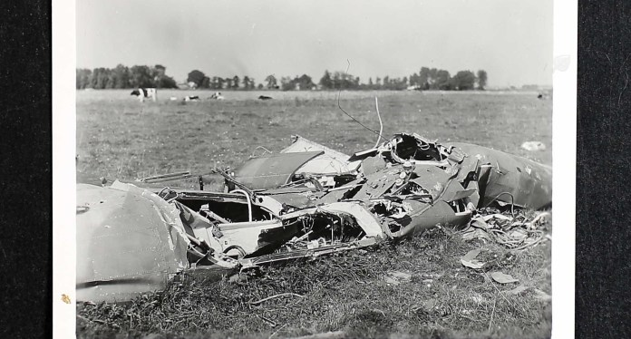 Ornstein's Lancaster bomber after the crash near Bremen, Germany in March 1945.