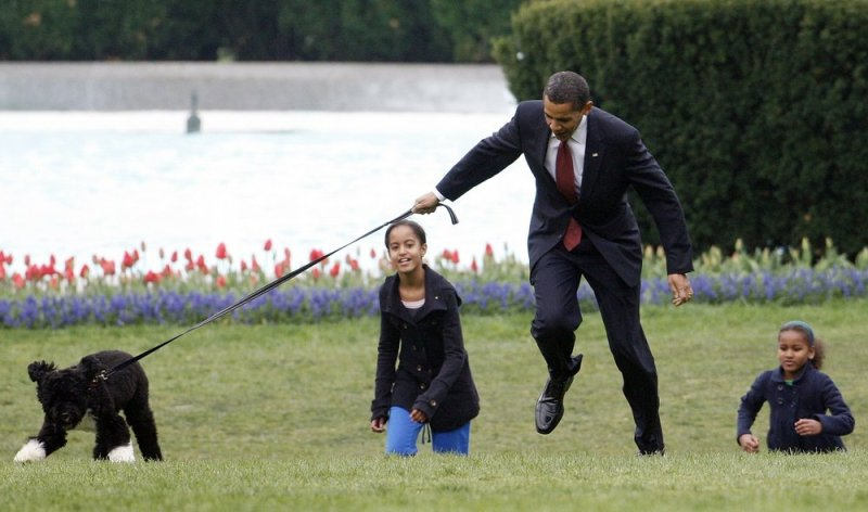 In this April 14, 2009, file photo President Barack Obama is almost jerked off his feet as he shows off their new dog Bo, a 6-month-old Portuguese water dog with his daughters Malia, left, and Sasha Obama, right, on the South Lawn of the White House in Washington.