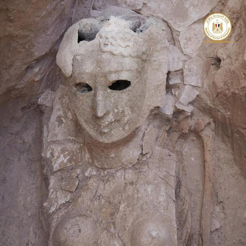 Archeologists found several marble masks in a crypt in Alexandria, Egypt.