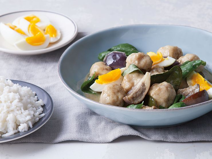 Thai-style dumplings add a nice, bouncy texture to this green curry. Get the recipe for Green Curry with Fish and Eggplant (Kaeng Khiaw Waan)
