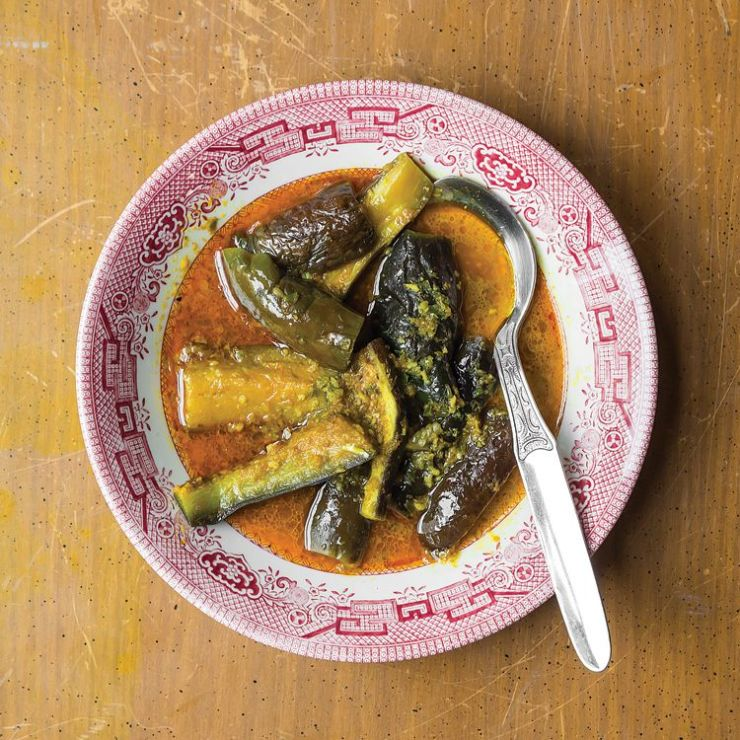 Eggplant is simmered to melting softness in a fantastically pungent curry fortified by shrimp paste. Get the recipe for Burmese Eggplant Curry (Khayan Thee Hnut)