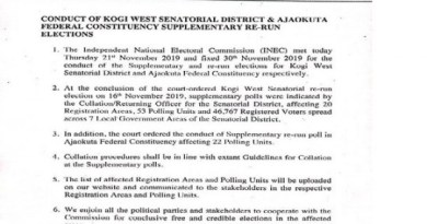 INEC fixed 30th Nov 2019 to conduct Re-run Elections of Kogi west Senatorial District and Ajaokuta Federal Constituency