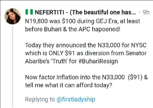 Nigerians react as a Twitter user analysis difference between Goodluck and Buhari NYSC Allowance rate