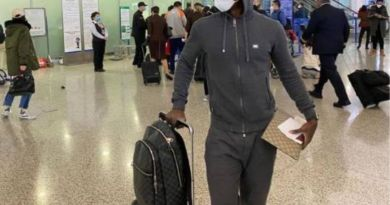 Coronavirus: Odion Ighalo wear protective face mask as he depart China to Manchester United (Photos)