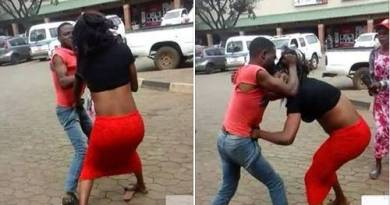 Lady Beats A Man That Slap Her In front Of Shoprite Mall In Lagos (Photo)