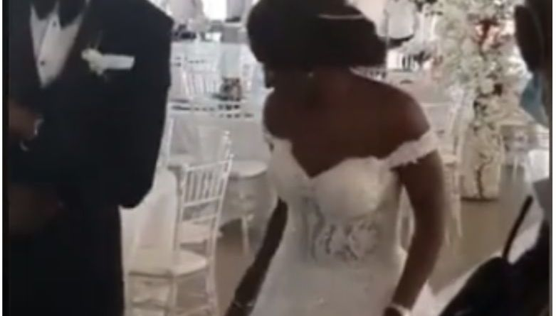 Viral video Nigerian couple dancing into their wedding reception with no guest amid COVID-19 (Video)
