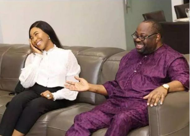 Reaction as Erica Nlewedim pay Dele Momodu a visit (photos)