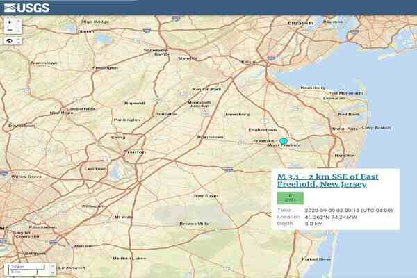 USGS Reports Preliminary 3.1 Magnitude Earthquake detected in New Jersey