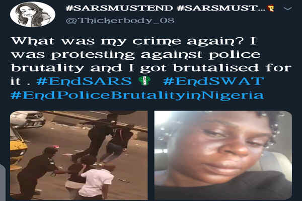 3 Police Officers arrested for brutalises a female protester in Lagos