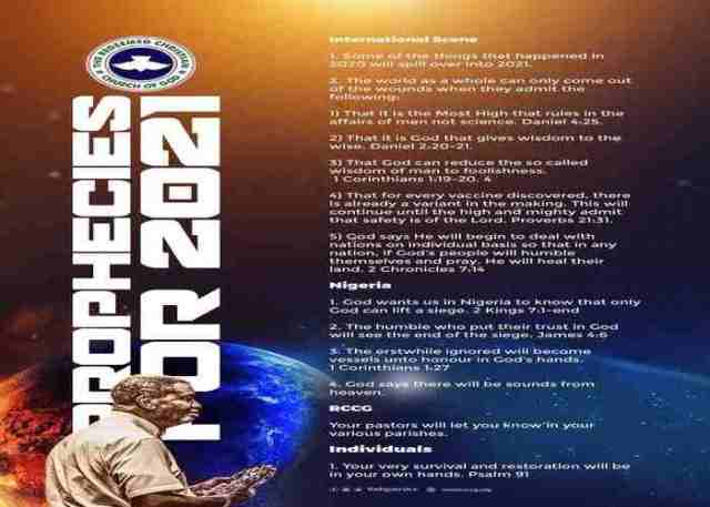Pastor E.A Adeboye Prophecy For 2021