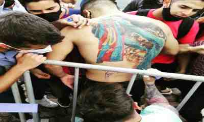 Leo Messi reacts to Igor Magalhaes tattoo of him his back