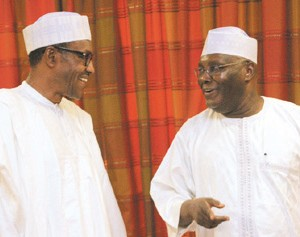 President-elect Muhammadu Buhari receives former Vice President and chieftain of APC,  Atiku Abubakar during a courtesy visit at Defence House, Abuja on Wednesday, 29 April