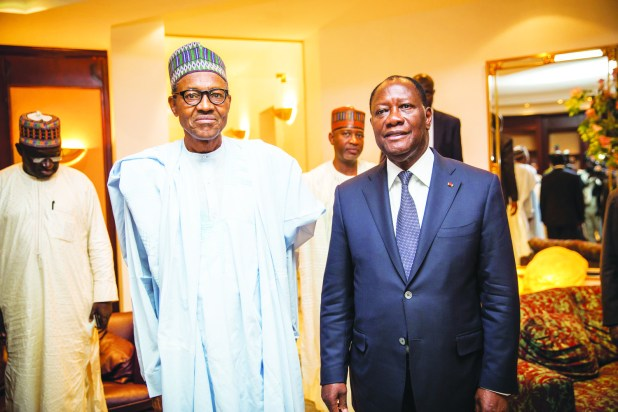 President-elect Generl Muhammadu Buhari and President of Cote d'Ivoire Allasane Ouattara when the two leaders met at the Presidential Wing of Nnamdi Azikiwe International Airport in Abuja on Monday, 20 April 2015.