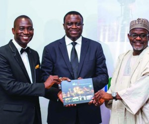GM External Relations Nigeria LNG, Dr. Kudo Eresia-Eke; Managing Director, Mr. Babs Omotowa, and Deputy Managing Director, Mr Isa Inuwa, during presentation of Facts Behind the Figures to media executives at Eko Hotel, Lagos on Monday