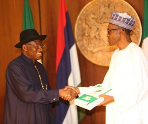 President  GoodLuck Jonathan and President-elect General Muhammadu Buhari at the handing over of notes at the Council Chambers, Presidentia Villa, Abuja on Thursday, 28 May 2015.
