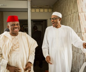 Obiano (left) with president elect Gen. Buhari