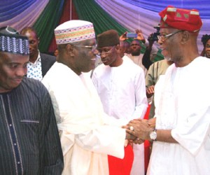 Speaker of the House of Representatives and Sokoto State Governor-elect, Aminu Tambuwal, former Vice President and chieftain of APC, Atiku Abubakar and National Chairman of APC, Chief John Odigie-Oyegun,  at a pre-inauguration retreat of the APC Governors at Sheraton  Hotel, Abuja on Wednesday, 20 May 2015.
