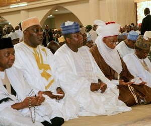 (L-R):Vice President Sambo, Abubakar Atiku, Gov Yari, the Etsu of Nupe kingdom, and the Chief Judge of Nigeria