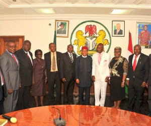 Pix 6081;  Abia state > Governor, Theodore Orji flanked by the group of newly > appointed Permanent Secretaries after their swearing-in at > Exco Chambers Govt. House > Umuahia.